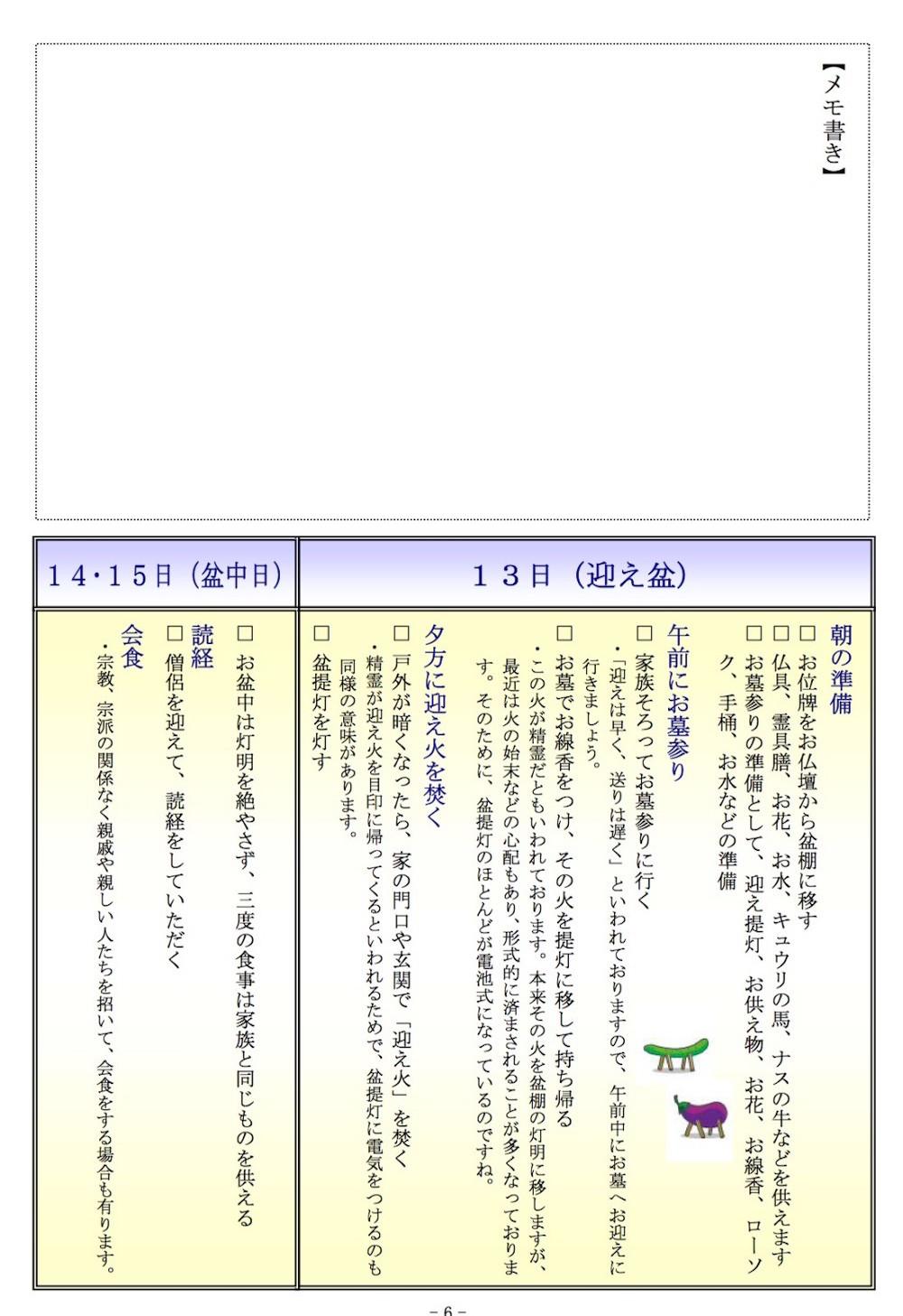 お盆の準備と行事を解説した小冊子の一部